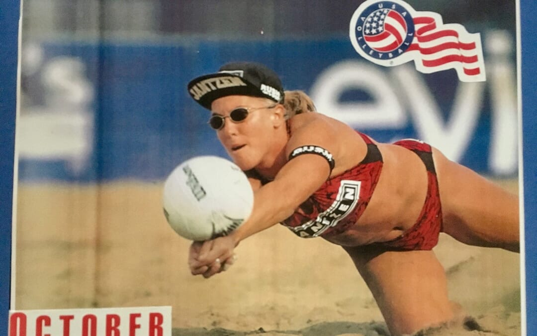 Playing beach volleyball chess with Angela Rock