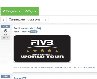 87 World Tour Events – The 2019 FIVB calendar is a monster